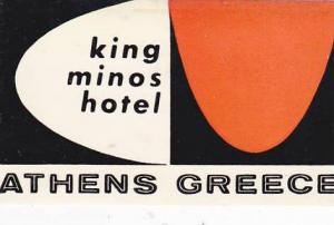 GREECE ATHENS KING MINOS HOTEL VINTAGE LUGGAGE LABEL