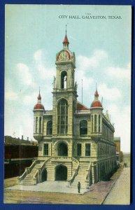 Galveston Texas tx City Hall old postcard