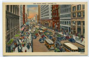 State Street Scene Cars Bus Chicago Illinois 1940s linen postcard
