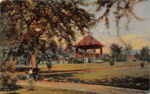La Salle IL~City Park Bandstand~Early Autumn~Mom & Son on Bench 1911 Rotograph