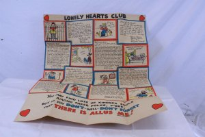 Vintage 1948 Un-used Craft Paper Folded Hallmark Valentine Card Open 23 x 18