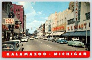 Kalamazoo Michigan~South Burdick Street~WT Grant store~FW Woolworth~1950s Cars