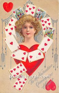 Queen of Hearts, Valentine Gambling Postal Used Unknown
