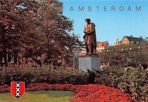 Netherlands Amsterdam Rembrandtplein Statue Monument Flowers