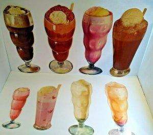 Ice Cream Soda Floats Milkshake Vintage Diecut Paper Signs 1950s Diners Lot Of 8