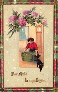 Halloween Black Cat For Auld Lang SyneBobbing Apples Embossed Postcard