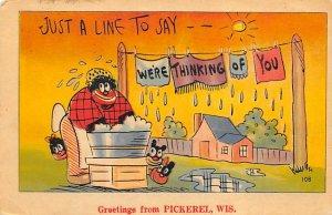 Greetings Pickerel, Wisconsin, USA Black Unused