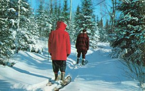 Postcard On Winter Trail with Snow Shoes