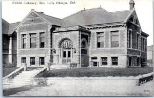 San Luis Obispo, California Postcard Public Library Building Street View PNC