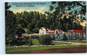 *Fountain Lake Swimming Pool Hot Springs National Park Arkansas Ark Postcard B76