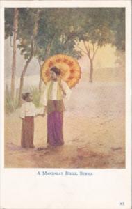 Mayanmar Burma A Mandalay Belle In Traditional Costume 1941