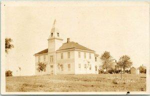 DILLER, Nebraska RPPC Real Photo Postcard HIGH SCHOOL Building View 1910s Unused