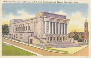 Massachusetts Worcester Memorial Auditorium and Central Congregational Church...