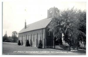 RPPC St. Paul's Lutheran Church, Wittenberg, WI Real Photo Postcard *5E5