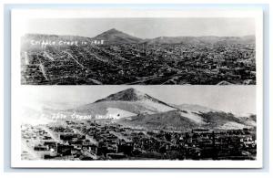 Postcard Cripple Creek in 1908 & 1946, CO split-view 1930-1950 RPPC H13