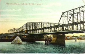 1909 GREENBUSH BRIDGE Long Drawbridge over Hudson River Albany NY Postcard A7