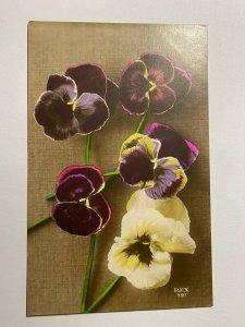 USED 1919 VINTAGE GREETINGS POSTCARD - PANSIES FLOWERS (KK369)