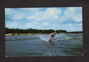 MI Greetings From Houghton Lake Michigan Postcard Water Ski Skiing PC