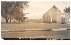 F61/ Strongsville Ohio RPPC Postcard c1950s St Joseph's Church Building