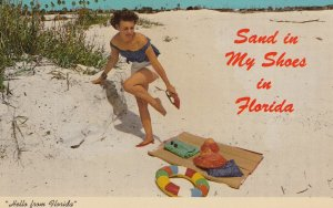 Girl on Beach , 1960s ; Sand in my shoes in Florida