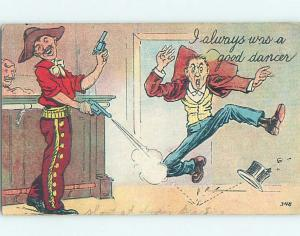 Pre-Linen western OLD WEST COWBOY SHOOTING AT MAN'S FEET IN BAR HL2305