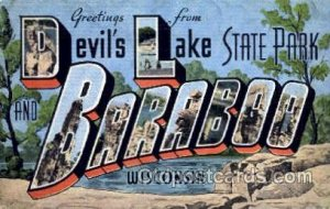 Greetings From Baraboo, Wisconsin, USA Large Letter Town Unused
