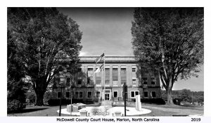 Marion North Carolina~Shrubs & Trees, Almost As Tall As The Courthouse 1940s