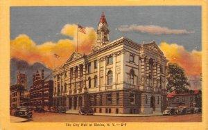 The City Hall at Elmira, New York ca 1940s Vintage Linen Postcard