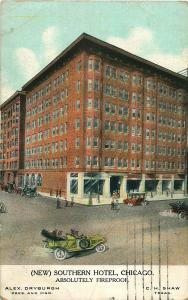 CHICAGO IL SOUTHERN HOTEL (NEW) ABSOLUTELY FIREPROOF POSTCARD c1911 OLD AUTOS