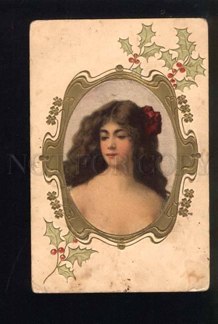 044485 Belle Girl By Angelo ASTI Art Nouveau SILK Vintage RARE