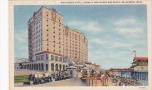 Texas Galveston Buccaneer Hotel Seawall Boulevard and Beach Curteich