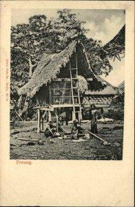 PENANG MALAYSIA Native Family w Primitive Home c1910 Postcard