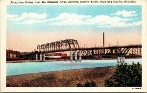 AK-SAR BEN BRIDGE IN OMAHA NEBRASKA MISSOURI RIVER IOWA UNPOSTED POSTCARD