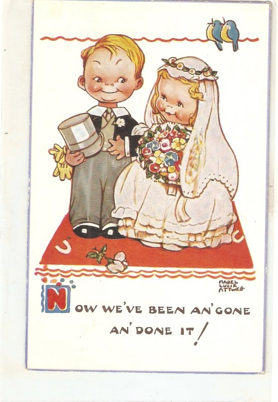 Mabel Lucie Attwell. Now we've been an'gone... Nice Valentine PC # 5366