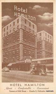1930s Hotel Hamilton Omaha Nebraska autos postcard 1956