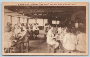 Postcard MA Harvard Bare Hill Pond Worcester Girl Scout Camp Mess Hall c1940s S8