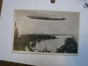 Postcard Germany Airship graf zeppelin Friedrichshafen Lake