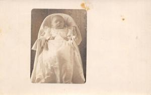 Marys Baby Melvin Ray~Christening Gown~It Han't Very Good~1909 Real Photo~RPPC