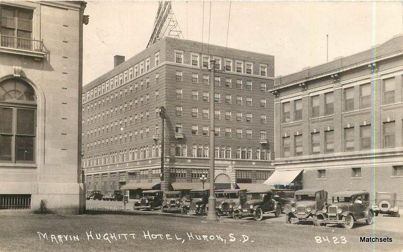 1934 Huron South Dakota Marvin Hughitt Hotel Automobiles Rppc Postcard 7995