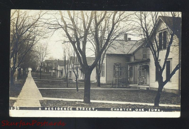 RPPC CHARTER OAK IOWA RESIDENCE STREET SCENE VINTAGE REAL PHOTO POSTCARD