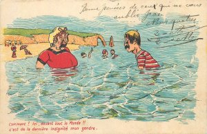Postcard Comic people swimming in the sea