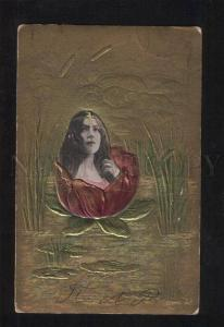 057642 BELLE Long Hair WATER LILY MERMAID Art Nouveau PHOTO