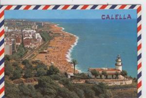 Postal 07479 : Faro y playa de Calella, Barcelona