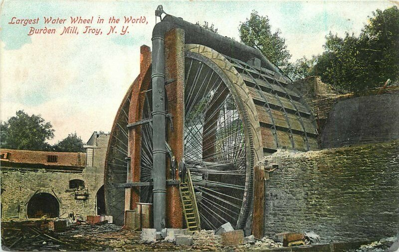 Burden Mill Troy New York Largest water wheel C-1910 Postcard Ramroth 20-935