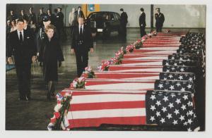 President Ronald Reagan views  Marines Killed in Beirut Postcard