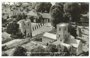 Oxfordshire; Stanton Harcourt Manor & Church RP PPC Unposted Aerial View