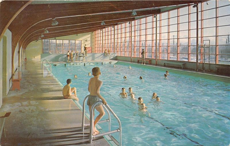 Anchorage Alaska~The SPA-Indoor Civilian Swimming Pool~Lady on Diving Board~'50s