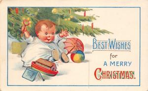 Christmas~Baby Plays With Toys Under Decorated Tree~Shakes Rattle~GEL Postcard