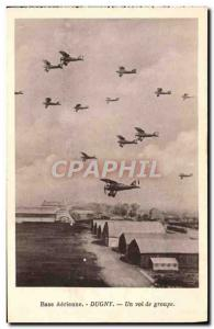 Old Postcard Jet Aviation Aerial Base Dugny A group flight
