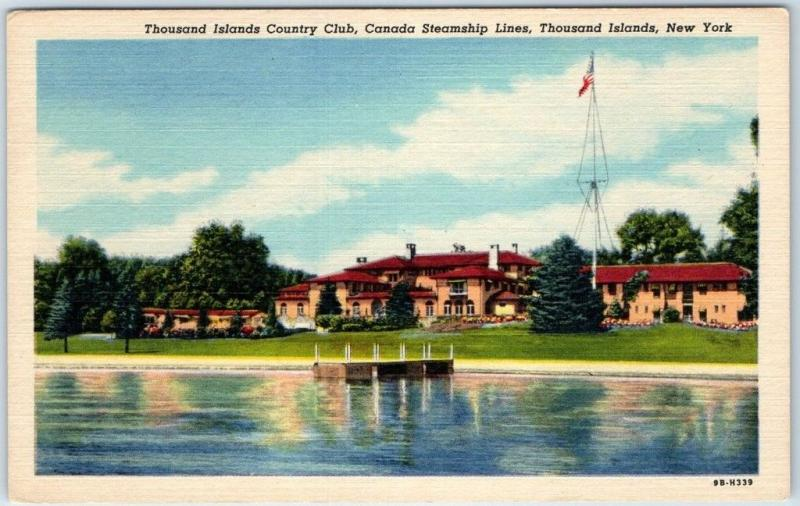 1940s New York Postcard 1000 Islands Country Club Canada Steamship Lines Linen